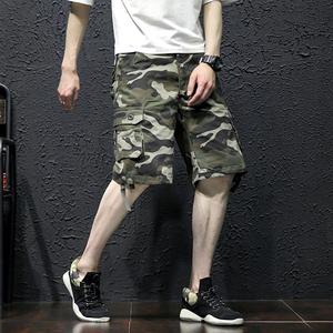 18夏新宽松迷彩裤短裤多口袋工装裤中裤男式大码五分裤1326-P40