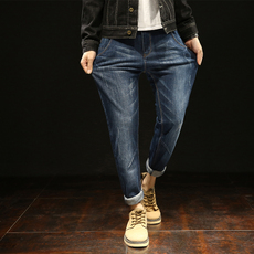Q实拍2018日系长裤小脚裤牛仔裤男韩版潮修身哈伦裤男士长裤Q602