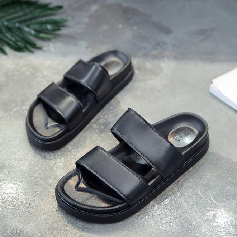 2018 mùa hè cá tính vài mô hình dép và dép bãi biển nền tảng giày không trượt thanh song song dép đi trong nhà đơn giản giày đen