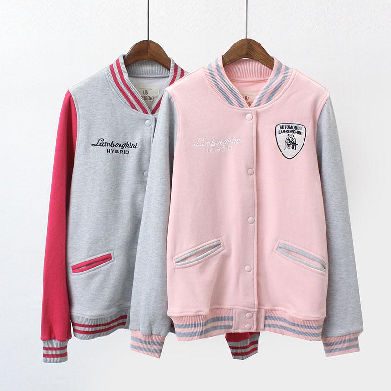 7290 vài mô hình ngắn áo mùa xuân mới Hàn Quốc phiên bản của đơn ngực thư thêu đồng phục bóng chày lỏng hoang dã áo khoác