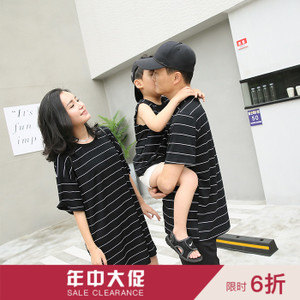 辰辰 妈 亲子 装 Mùa hè mặc một gia đình ba thủy triều mùa hè gia đình mặc sọc cha và mẹ con trai nạp áo sơ mi ngắn tay