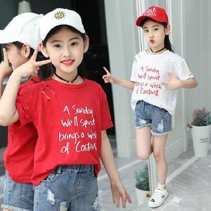 2018夏季韩版字母印花破洞圆领短袖T恤上衣女童