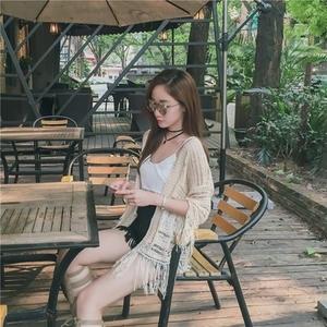 现货西米亚镂空薄款针织开衫女纯色宽松流苏上衣#6068