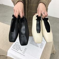 1809-1实拍文艺懒人奶奶鞋舒适单鞋复古平底女鞋浅口百搭小白鞋