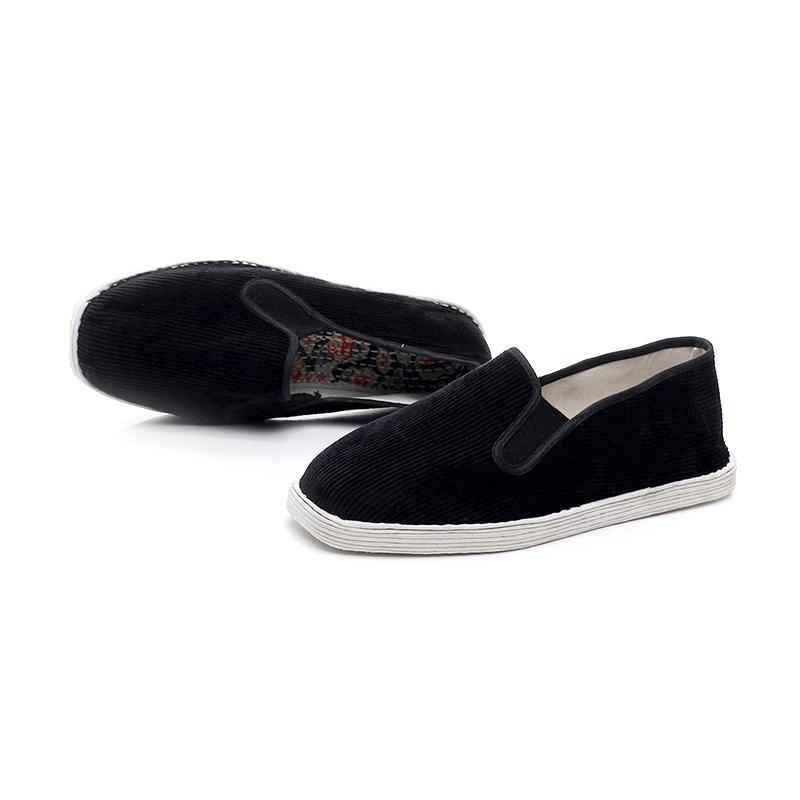春夏老北京布鞋舒适平底条纹布底鞋男士透气休闲鞋手工千层底布鞋
