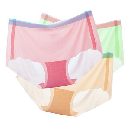3条装 2018新款超薄冰丝无痕一片式女内裤透气性感舒适三角内裤夏