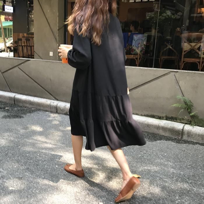 实拍实价~宽松显瘦长袖黑色连衣裙已检测 9759#
