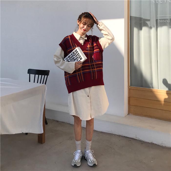 实拍实价长款米白色衬衫连衣裙+V领红色格子针织毛线背心9391检测