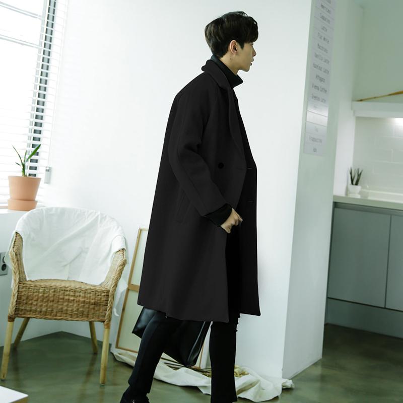 冬季毛呢大衣男士中长款韩版英伦风加厚学生呢子风衣外套2019流行