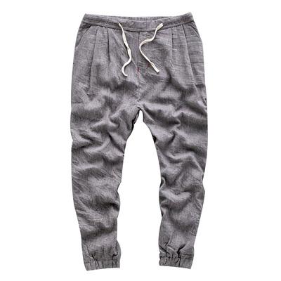 Quần linen nam quần mùa hè phần mỏng lỏng phong cách Trung Quốc mới quần dài cotton linen wide leg quần harem cây ra hoa