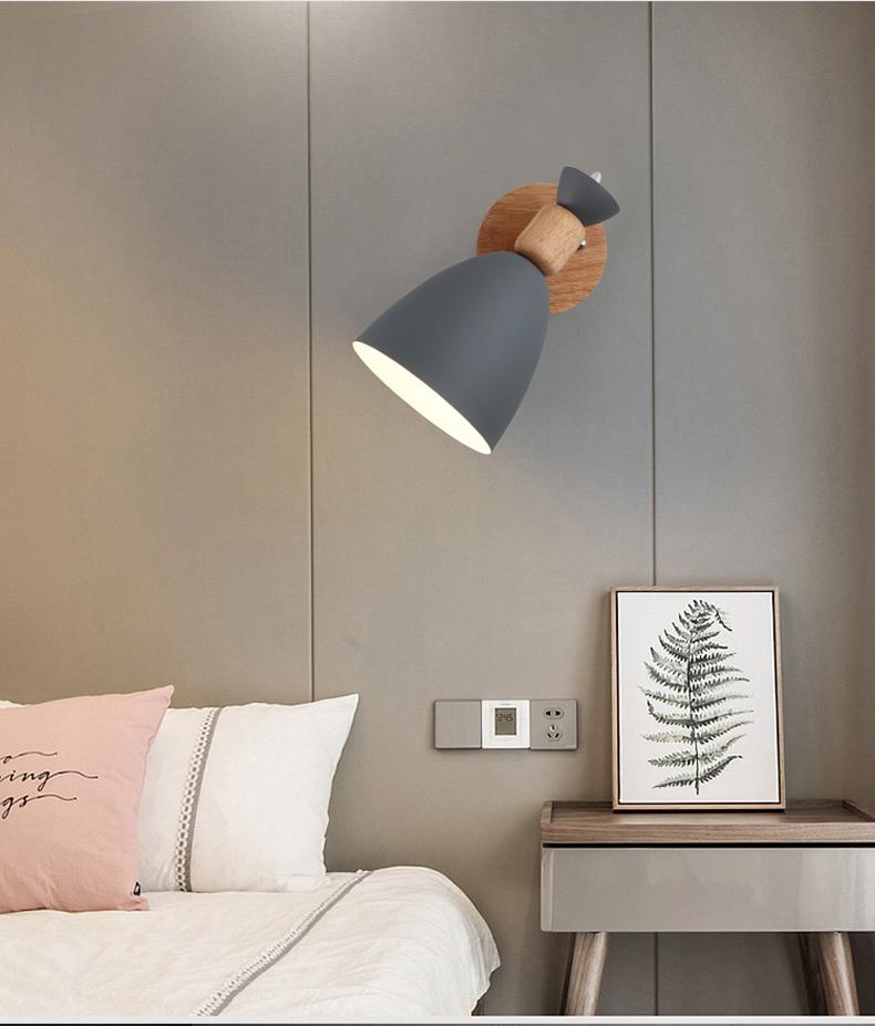 北欧简约马卡龙过道壁灯6088创意个性卧室书房彩色喇叭铁艺壁灯(6088-灰色)