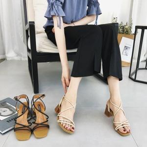 2018夏季新款韓版交叉綁帶女夏涼鞋粗跟中跟百搭一字扣羅馬高跟鞋