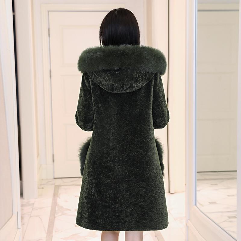 Chống biển lông cừu cắt áo khoác nữ đặc biệt giải phóng mặt bằng bán lông một 2018 mới dài trùm đầu áo khoác mùa đông