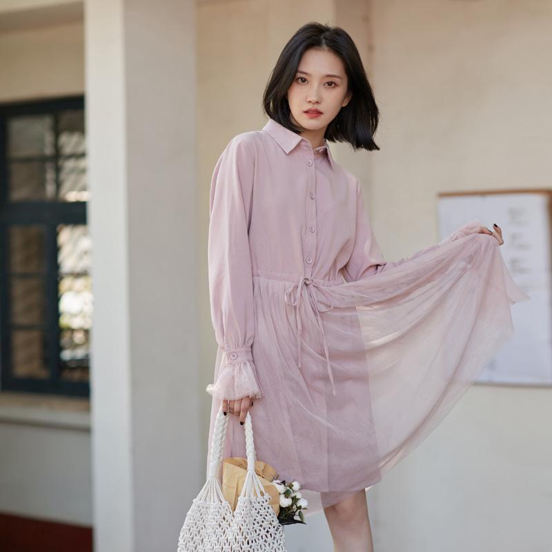 698#上架不低于93元秋冬新款甜美仙女藕粉色双层网纱显瘦连衣裙
