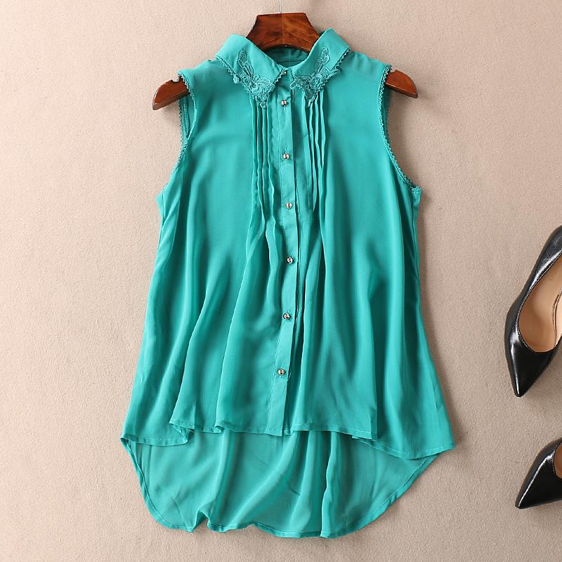 Kết cấu drap loose bìa thịt quan điểm voan áo mùa hè là mỏng Một từ ren cổ áo áo thun nữ A558