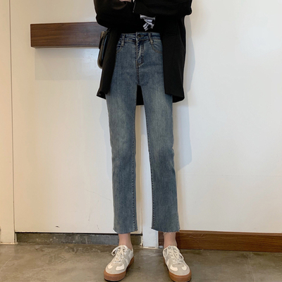 taobao agent 2021 new pants high waist jeans women's spring loose cropped trousers small wild slim slim straight-leg pants