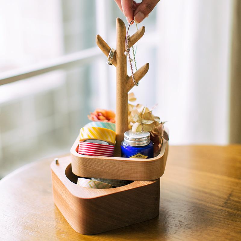 自然和家木制多层首饰盒,送老婆放结婚礼物用
