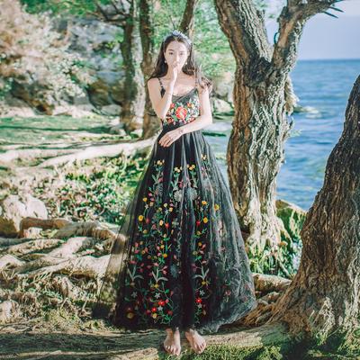 夏季新款重工网纱刺绣蕾丝吊带连衣裙海边旅游度假沙滩大摆长裙