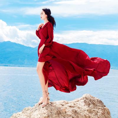 复古红色气质性感V领露背显瘦心机连衣裙巴厘岛海边度假沙滩长裙
