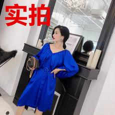 388实拍韩国订制灯笼袖V领中长款连衣裙有腰带