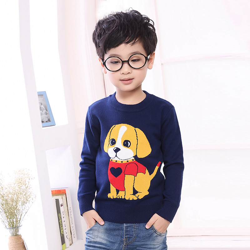 童装春秋季韩版男童纯棉套头毛衣卡通狗狗提花