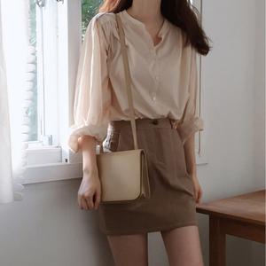 Hàn quốc chic gió nhẹ nhàng cô gái đơn giản hoang dã rắn màu lỏng áo + một từ váy váy phù hợp với