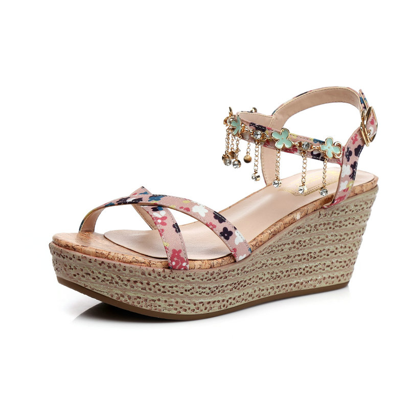夏季新款波西米亚水钻凉鞋女