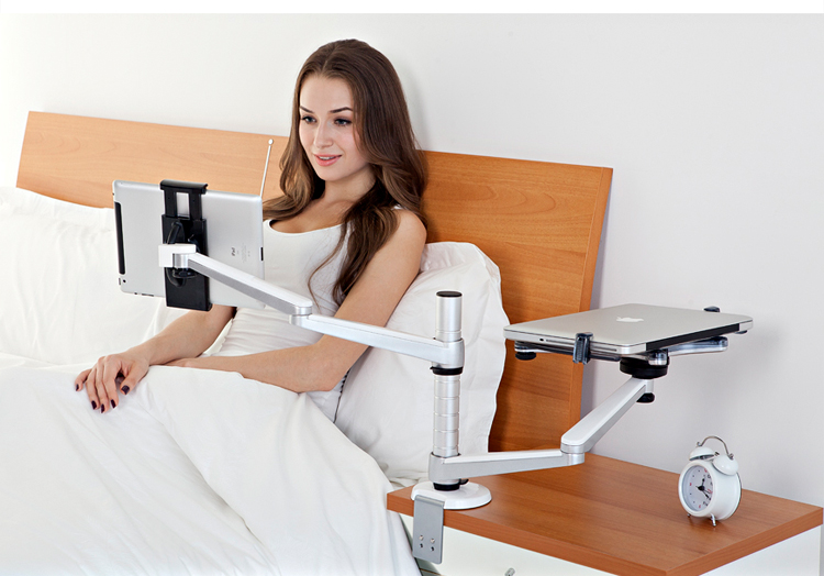 2 In 1 360º Rotating Height Adjust Laptop Ipad Pro Tablets Desk Bed Stand Mount 616043985015 Ebay