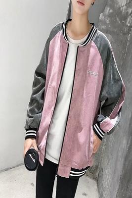 Nhật bản mùa thu những người yêu thích áo khoác lỏng vải to sợi áo khoác khâu màu áo đồng phục bóng chày lớp áo khoác áo khoác nam giới và phụ nữ