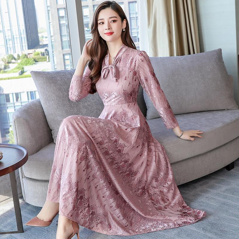 a1510db67 US $27.99 49% OFF s 3XL New Elegant OL Velvet Dress Winter Dresses Retro  Women 2018 Korean autumn Long Sleeve Ladies Office Dress Vestidos Robe-in  ...