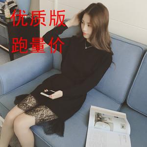清货价20元6613#秋新款圆领套头收腰蕾丝拼接长款针织衫连衣裙女