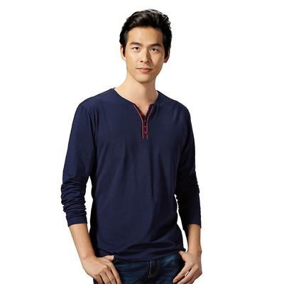Của nam giới mùa thu 2017 mới dài tay T-Shirt thoải mái và thoáng khí thời trang giản dị hoang dã của nam giới T-Shirt loạt có sẵn! áo polo nam Áo phông dài