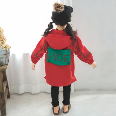 女童春秋装风衣外套洋气春季新款洋气中大儿童中长款童装