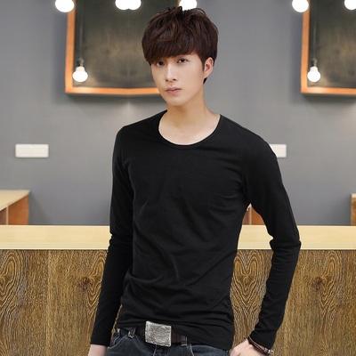 2017 mùa thu người đàn ông mới của dài tay t-shirt nam phần mỏng cổ tròn màu rắn thanh niên mùa thu quần áo Hàn Quốc phiên bản của bông đáy áo áo thun trơn nam Áo phông dài