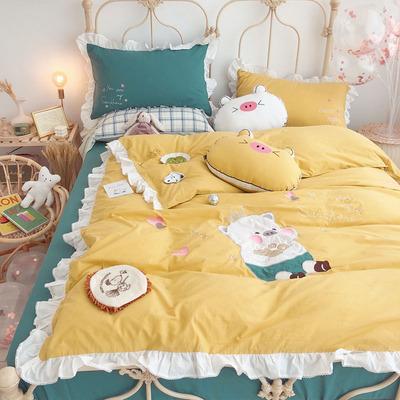 爆可爱猪猪水洗棉床上四件套ins少女心全棉纯棉荷叶花边被套床单