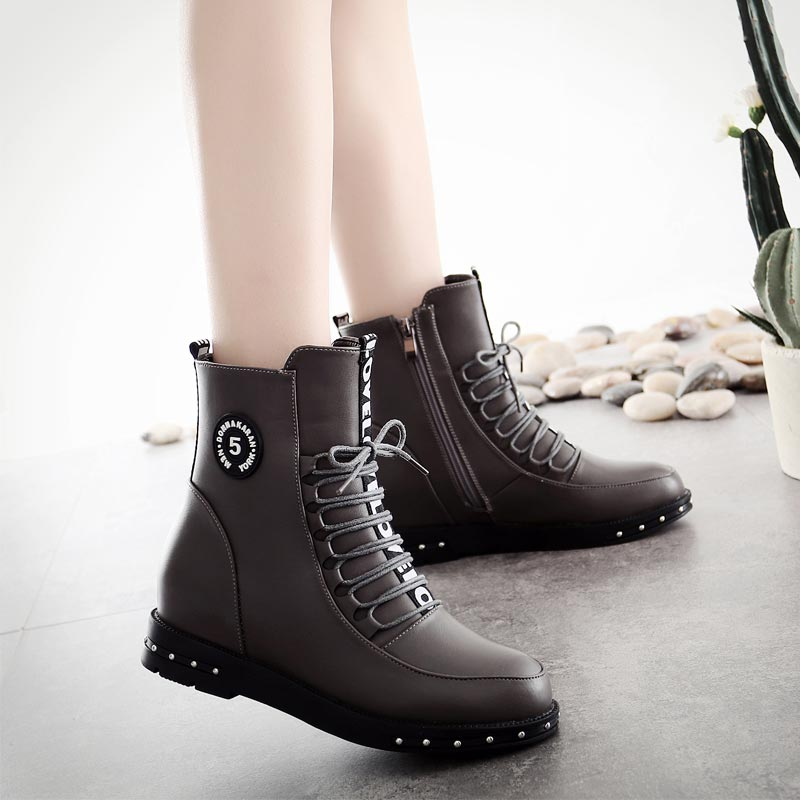 天天特价马丁靴平底系带厚底女短靴学生冬季新款复古英伦风女靴子