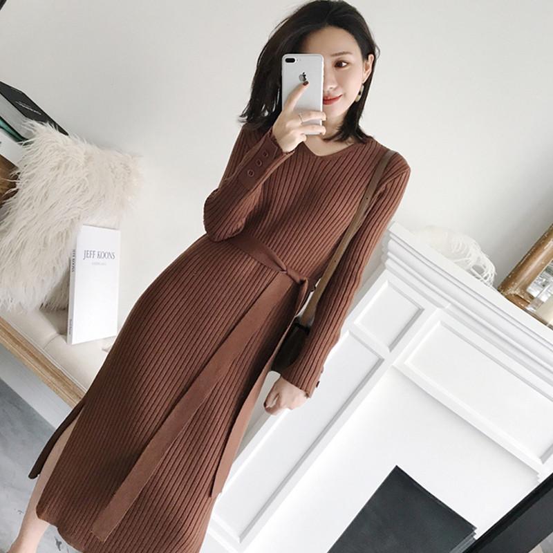 2018春秋薄款新款女装韩版针织连衣裙收腰气质显