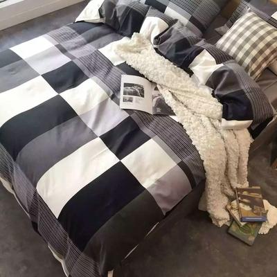 欧美式黑白条纹格子纯棉四件套全棉贡缎简约被套床单床笠床上用品