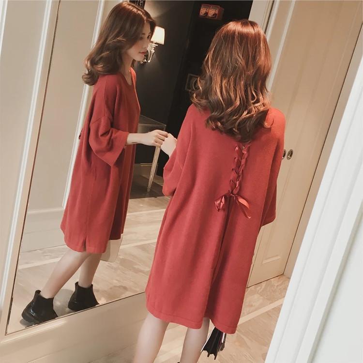 22新款女装中长款针织毛衣女韩版宽松大码后背系带蝴蝶结连衣裙