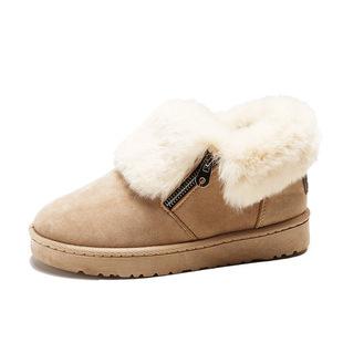 雪地靴女新款保暖毛口绒面米色低帮拉链