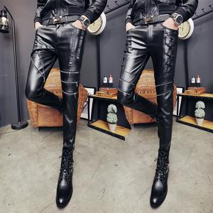 18 mùa xuân người đàn ông mới của quần da Hàn Quốc phiên bản của mỏng chân quần sân khấu trình diễn của nam giới da xe gắn máy quần chặt chẽ đàn hồi triều