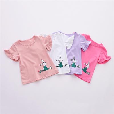 悠悠赫童装夏款儿童女童短袖T恤衫 宝宝薄款弹力圆领衫