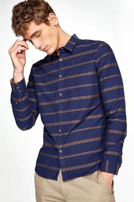 CHỌN Slade bông và vải lanh in sọc nam dài tay áo D-416362507 mua áo sơ mi nam Áo