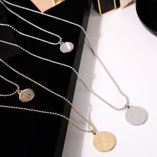 欧美经典小圆牌硬币ins网红钛钢项链