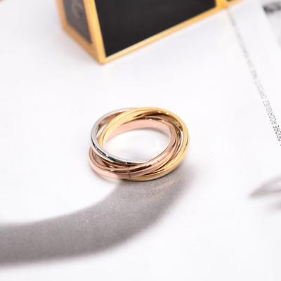 欧美风三环三色彩金戒指女款镀金食指环戒子钛钢不褪色百搭首饰品