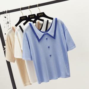 Xia 2018 màu sắc mới phù hợp với búp bê cổ áo đơn ngực ngắn tay áo len phụ nữ lỏng lẻo bìa bụng áo sơ mi giản dị