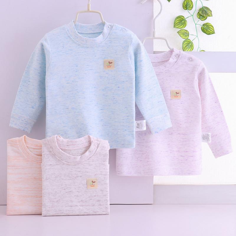 2018 mùa xuân mới quần áo trẻ em dài tay mùa thu quần áo nhỏ trẻ em nam giới và phụ nữ bông vòng cổ đáy áo sơ mi màu bông đồ lót hàng đầu