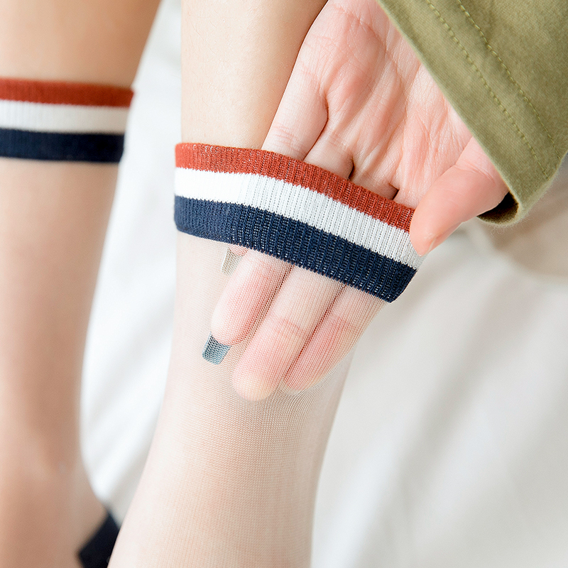 玻璃丝水晶丝袜女超薄袜子女中筒袜学院风短袜韩国可爱春夏季