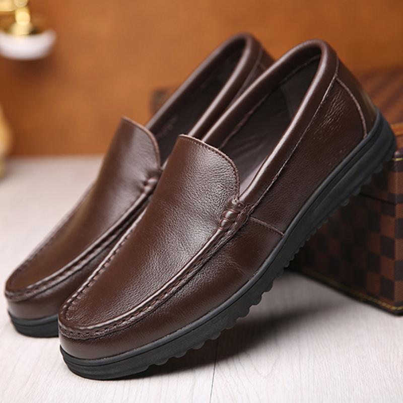 男鞋春秋皮鞋男中老年男士黑色套脚软底透气爸爸鞋皮鞋休闲鞋