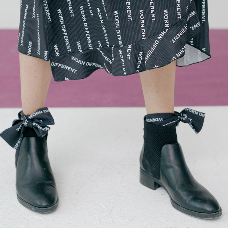 印花绑带袜子JIAXINXU独立设计师品牌AW18秋冬